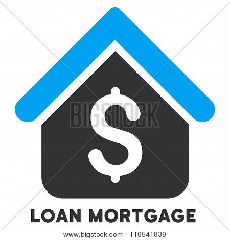 Loan Mortgage Glyph Flat Icon With Caption