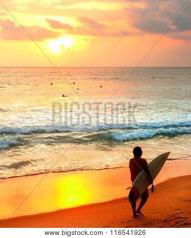 Sri Lanka Surfing At Sunset