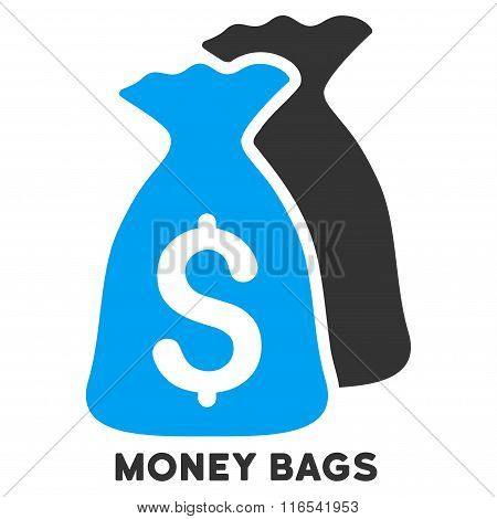 Money Bags Glyph Icon With Caption