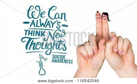 Happy fingers against suicide awareness