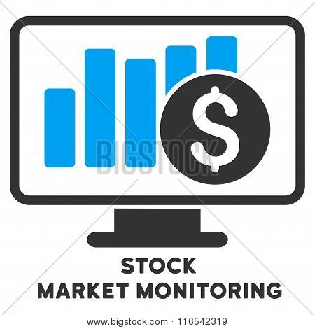 Stock Market Monitoring Glyph Flat Icon With Caption