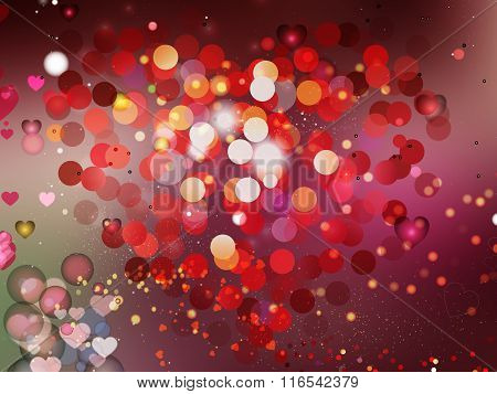 Heart Blurred Lights On Colorfull Background, Hearts Texture Background