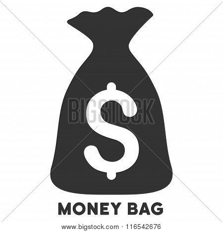 Money Bag Glyph Icon With Caption