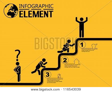 Infographic Simple Template With Steps Parts Options Elements Ladder Of Success