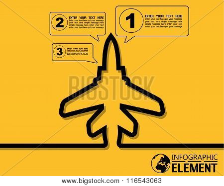 Infographic Simple Template With Steps Parts Options Elements Plane