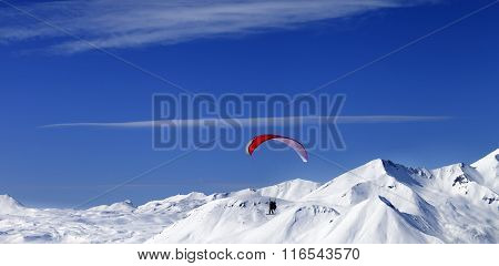 Panoramic View On Sky Gliding In Snowy Mountains At Nice Sun Day
