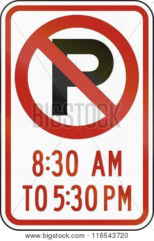United States Mutcd Regulatory Road Sign - No Parking At Specified Times