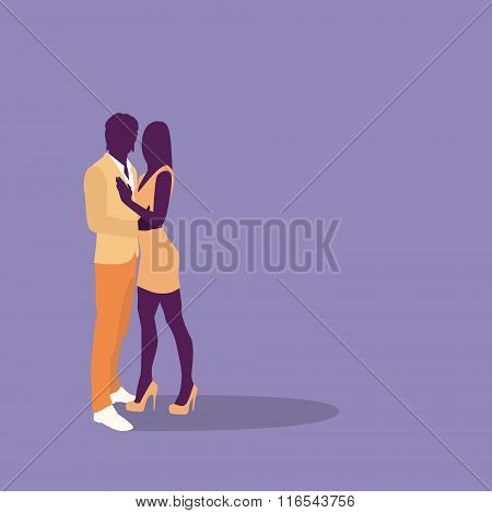 Silhouette Couple Colorful Fashion Dress Lovers Embrace With Copy Space