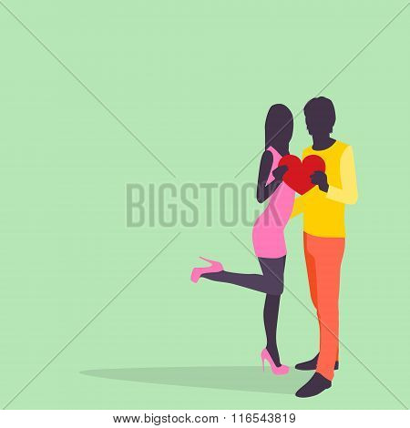 Silhouette Couple Lovers Hold Heart Embrace Colorful Fashion Dress