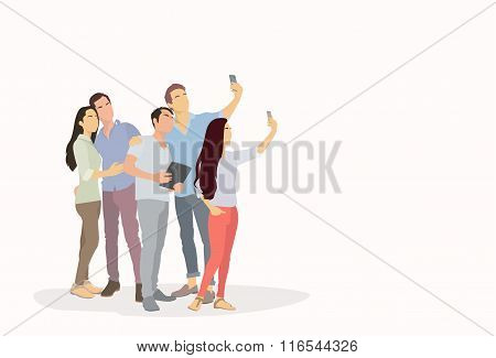 People Group Silhouette Taking Selfie Photo On Smart Phone