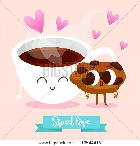Postcard Valentine's Day. Illustration with funny characters. Cute Cup of tea and Cookie.