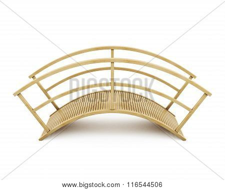 Wooden bridge isolated on a white background. 3d rendering