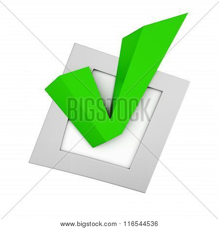 Green tick in the small box on white background. 3d rendering