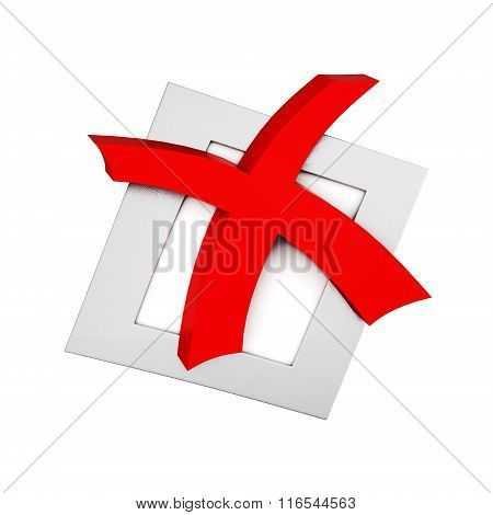 Mark a cross in red isolated on white background. 3d rendering