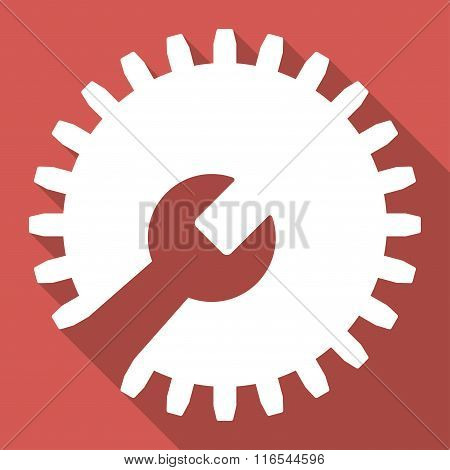 Gear Tools Long Shadow Square Flat Icon