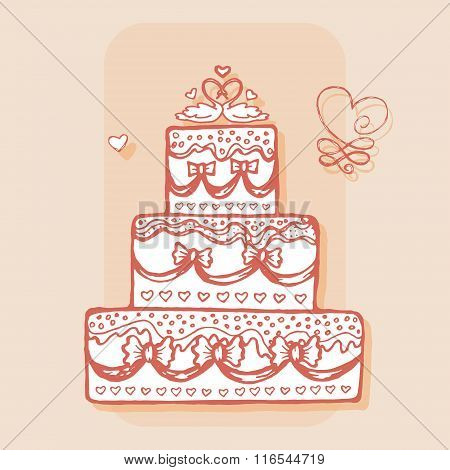 Decorated cake with pair of swans. Design element