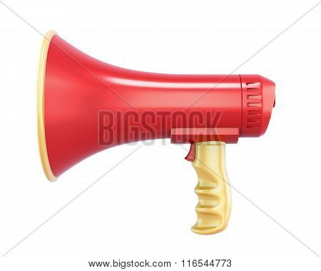Hand megaphone isolated on white background. 3d rendering