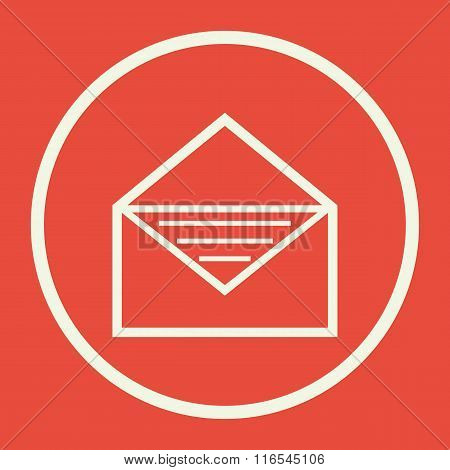 Open Envelope Icon, On Red Background