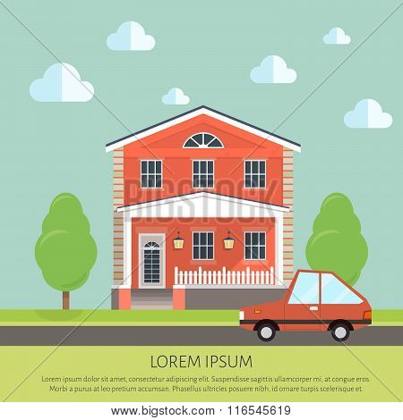 facade apartment house, cottage. flat style background of trees, car