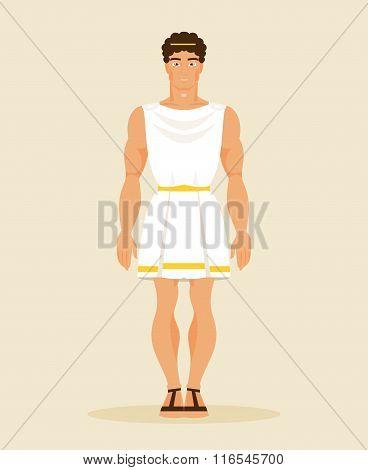 Ancient Greek Man. Vector Illustration