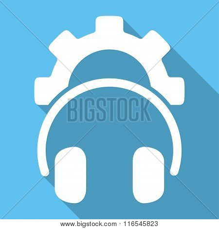 Headphones Configuration Long Shadow Square Flat Icon