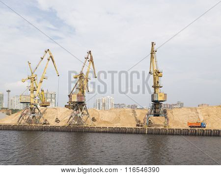 Yellow Harbor Cranes In North Port In Moscow
