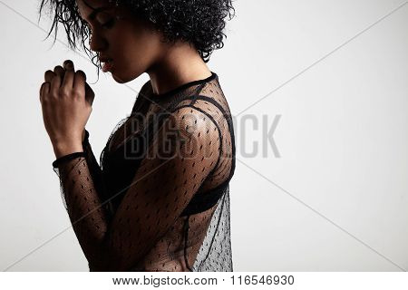 Beauty Black Woman In Profile With An Afro Hair