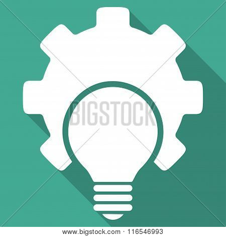 Bulb Configuration Long Shadow Square Icon