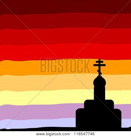The Orthodox Church At Sunset Background.