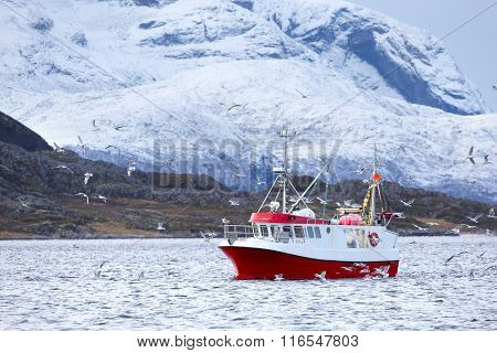 Fishing boat at sea in arctic environment