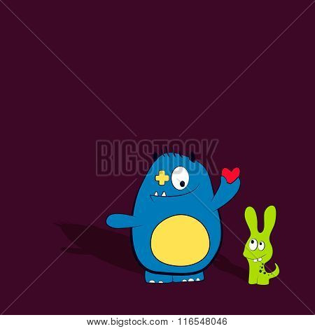 Cartoon cute monsters with heart. Friendly monster. Best friends concept.