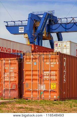 CZECH REPUBLIC, NYRANY,  27 APRIL,  2015: Nyrany container terminal. Industrial crane loading contai