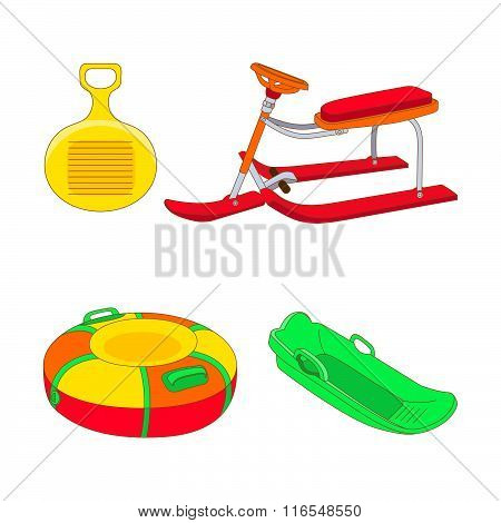 Set Of Different Kinds Of Winter Sled.