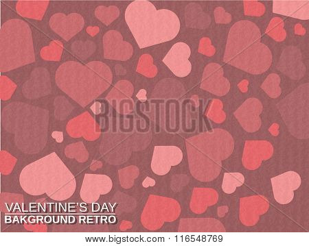 Valentine's  Day Background Simple With Heart Retro Vintage Style