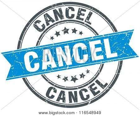 cancel blue round grunge vintage ribbon stamp