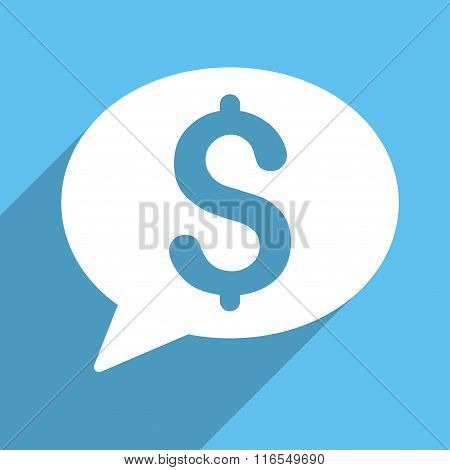 Bank Message Long Shadow Square Icon
