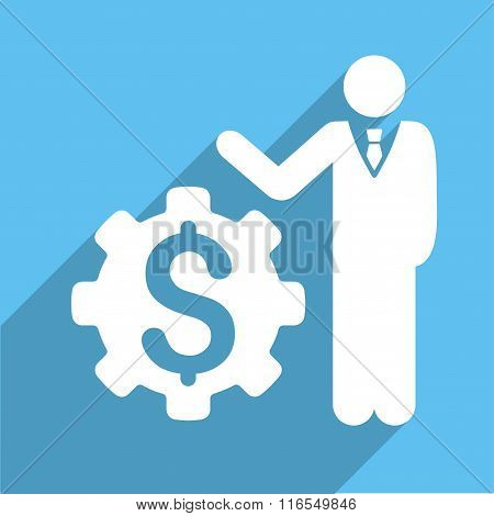 Businessman Options Long Shadow Square Icon