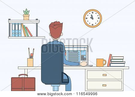 Business Man Sitting Desk Office Working Place Laptop Back Rear View