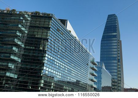 MILAN, ITALY - NOVEMBER 7, 2015: Diamond Tower and the Diamantini Buildings designed by the Kohn Pederson Fox in the Porta Nuova district in Milan, Italy.