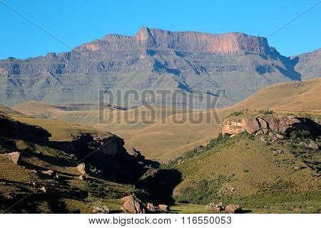 Scenic Drakensberg mountain landscape, Giants Castle nature reserve, South Africa