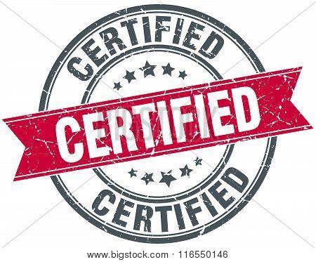 Certified Red Round Grunge Vintage Ribbon Stamp