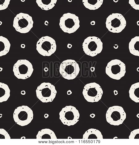 Vector Seamless Black And White Hand Painted Line Geometric Circular Donut Shape Pattern