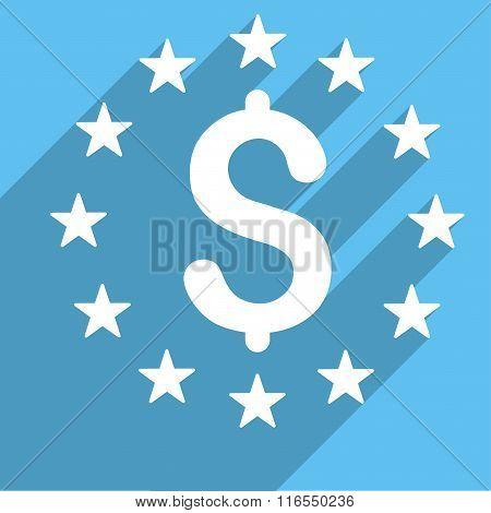 Dollar Stars Long Shadow Square Icon