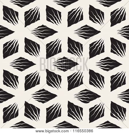 Vector Seamless Black And White Hand Painted Geometric Sunburst Lines Rhombic Pattern