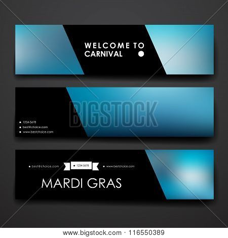 Set of modern design banner template in Mardi Gras style