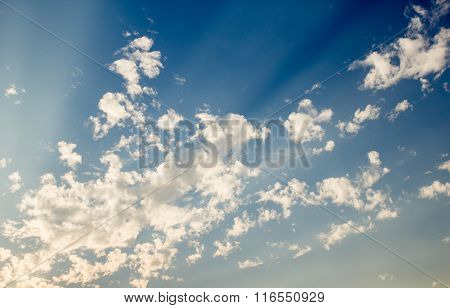 White Clouds With Blue Sky Background