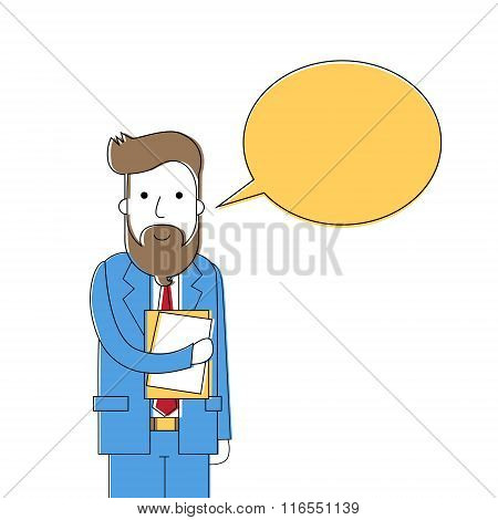 Bearded Business Man Chat Box Dialog  Businessman Talk Hold Folder