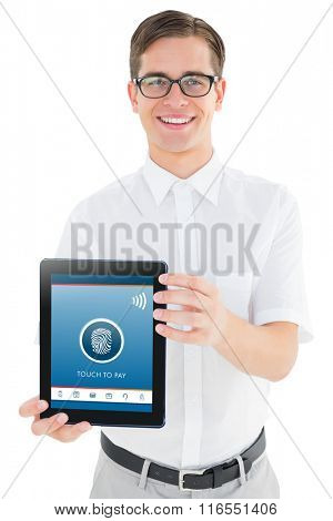 Geeky businessman showing his tablet pc against web