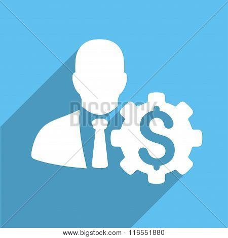 Banker Options Long Shadow Square Flat Icon