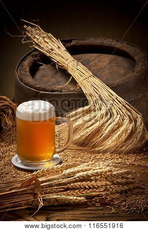 Glass Of Beer With Barley And Wheat